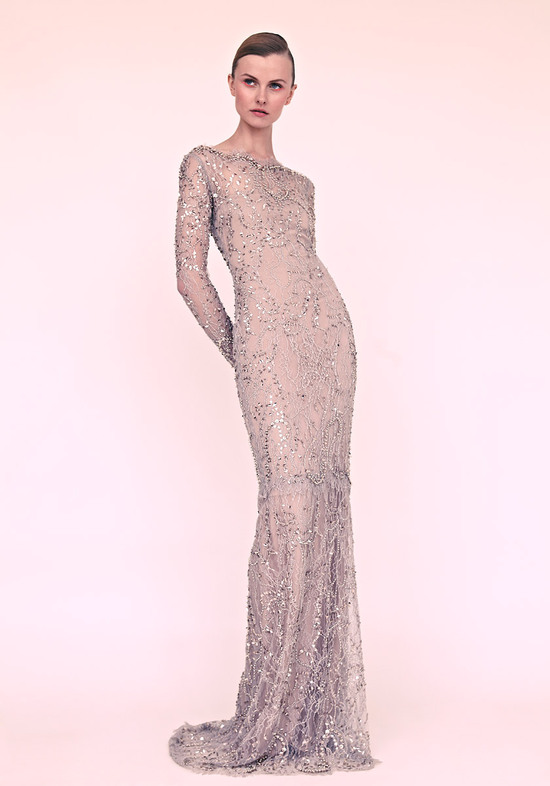 marchesa wedding dress 2013 sheer beaded with sleeves