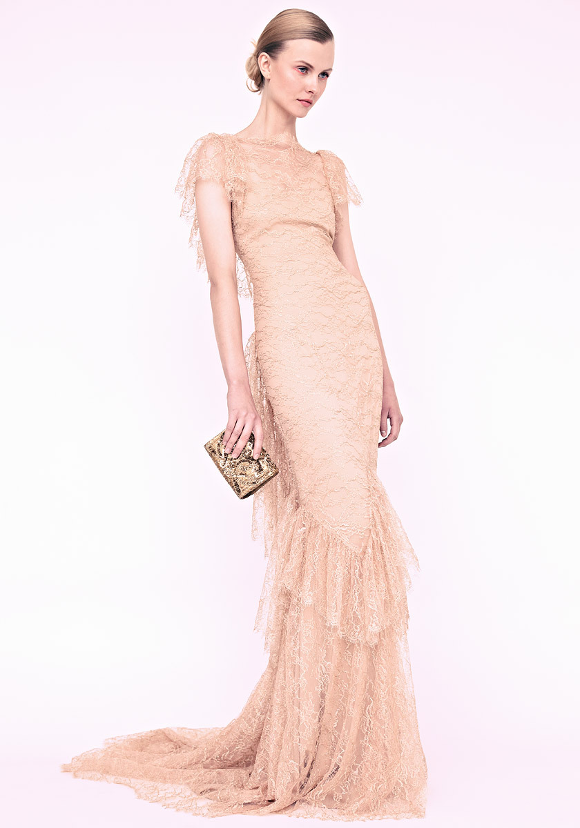 marchesa wedding dress nude lace with flutter sleeves