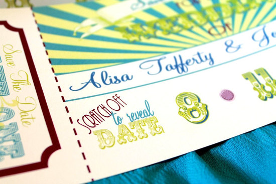scratch off wedding save the date fun carnival theme