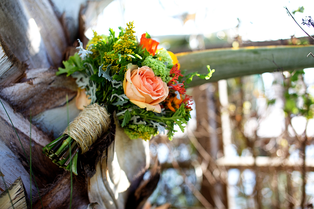 rustic wedding bridal bouquet peach roses twine