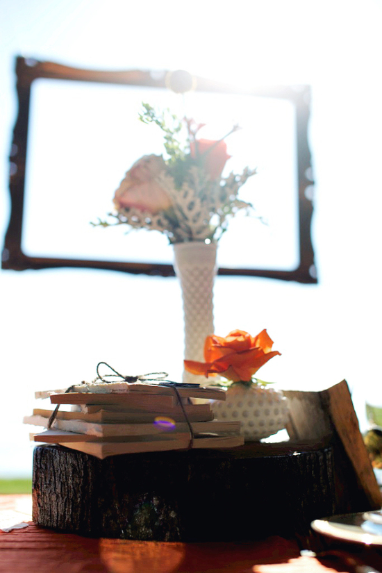 photo of rustic tangerine wedding inspiration simple centerpieces