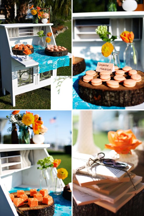 rustic citrus wedding inspiration outdoor wedding details dessert