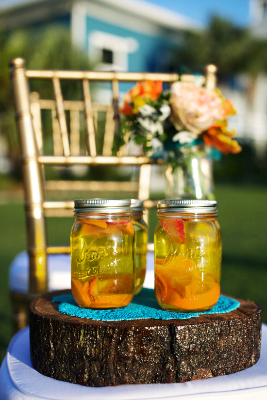 rustic citrus wedding inspiration outdoor spring wedding ideas signature drinks in mason jars