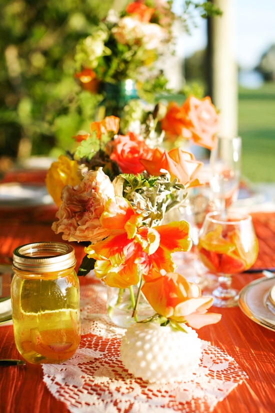 rustic citrus wedding inspiration outdoor spring wedding ideas lace mason jars
