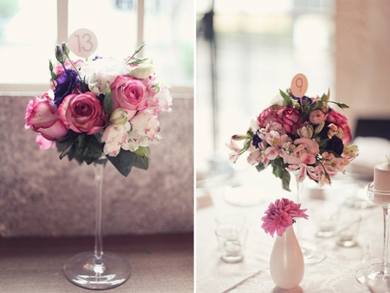 pink wedding flower centerpieces