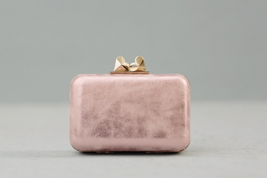 pink gold bridal clutch