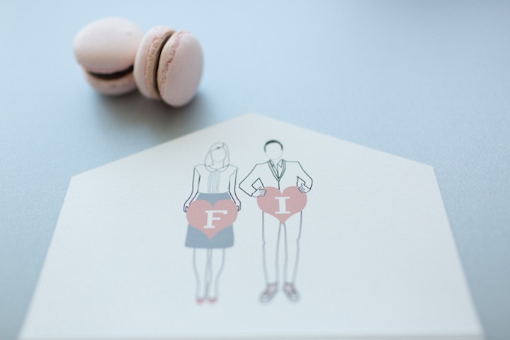 sweet wedding invitations envelope with bride and groom