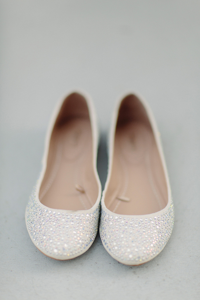ballet flats wedding shoes sparkly white | OneWed.com