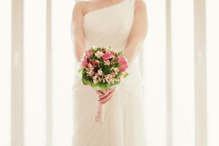 Pink-green-bridal-bouquet-one-shoulder-wedding-dress.full