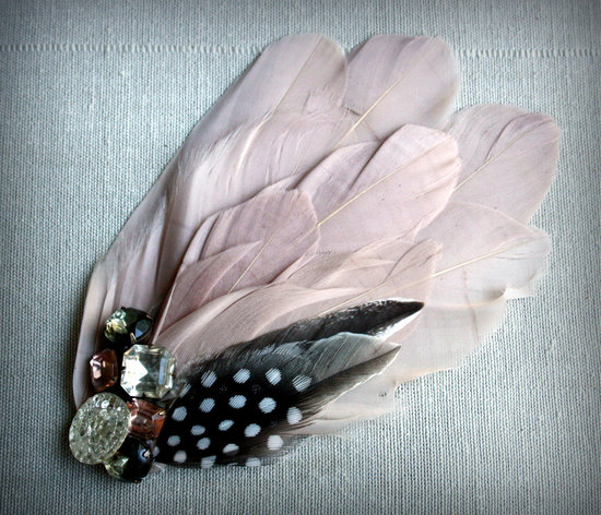 blush pink feather fascinator for vintage brides