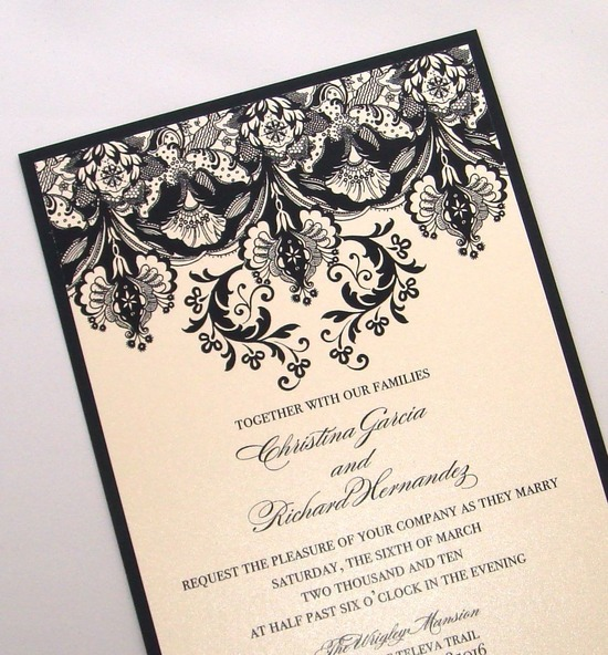 elegant ivory black wedding invitations