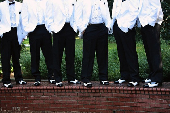 elegant charlotte wedding indoor reception venue purple lighting groomsmen black white