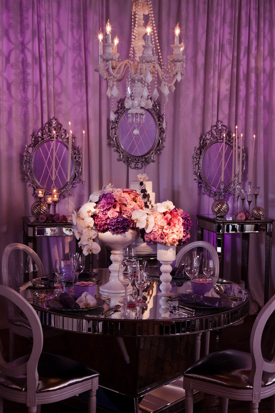 elegant purple silver ivory wedding reception sweetheart table mirrored touches