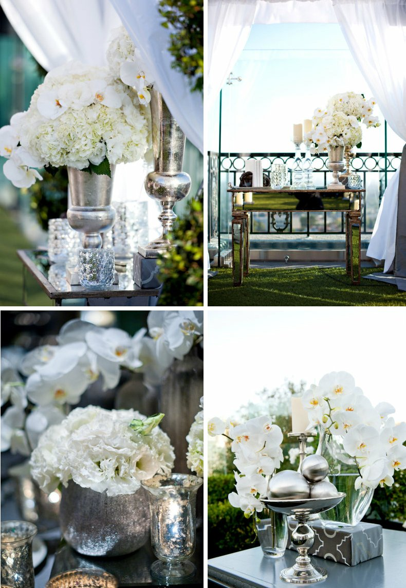 Mirrored wedding reception decor elegant venue outdoor for Wedding event decorators