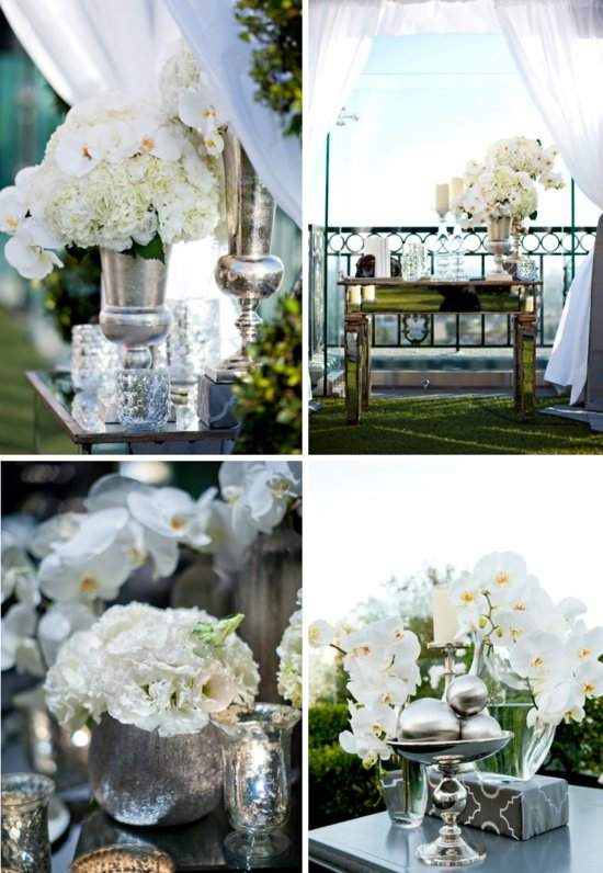 mirrored wedding reception decor elegant venue outdoor ceremony