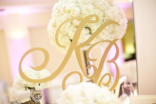 monogrammed mirror for elegant wedding reception
