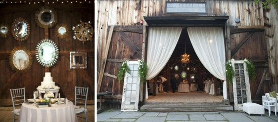 rustic real wedding reception decor using mirrors