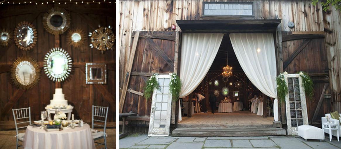 Wedding Reception Decor Rustic : Rustic real wedding reception decor using mirrors onewed