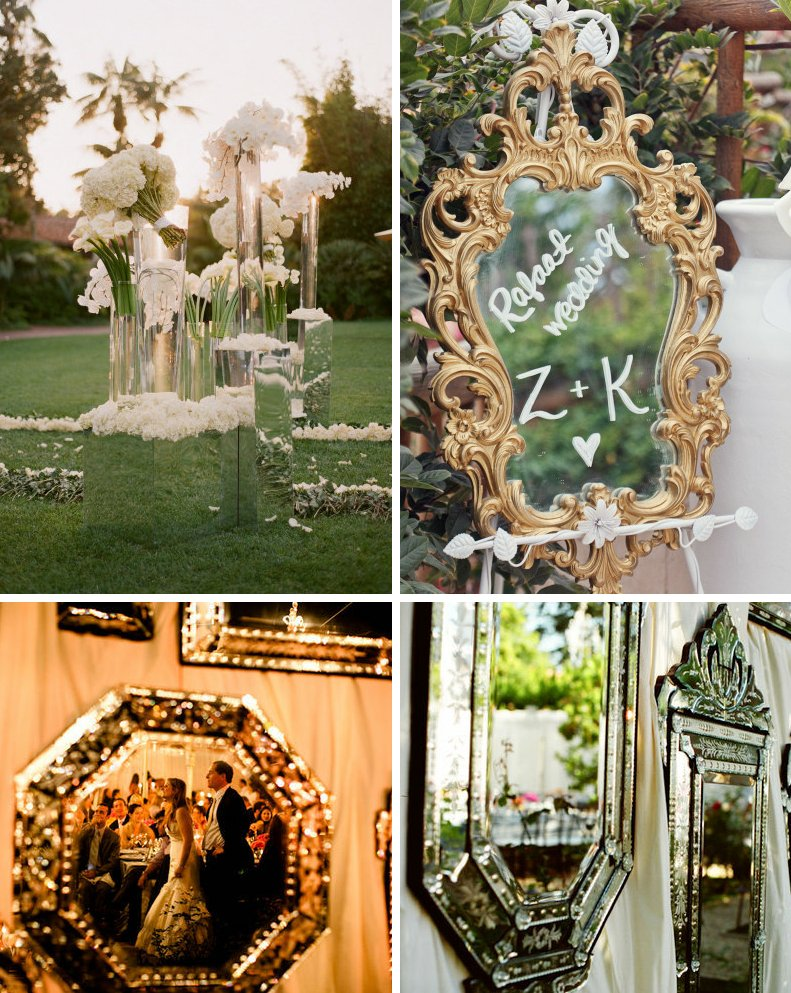 Creative wedding decor ideas outdoor weddings with mirrors for Home decorations for wedding