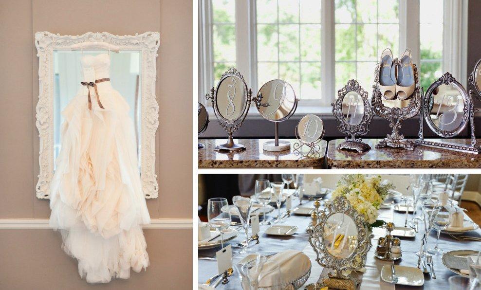 Elegant wedding reception decor idea mirrors vintage glam for Decoration retro