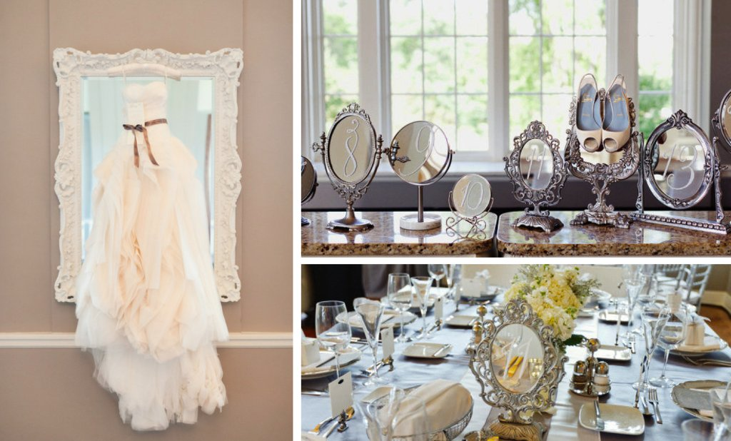 elegant wedding reception decor idea mirrors vintage glam weddings 2