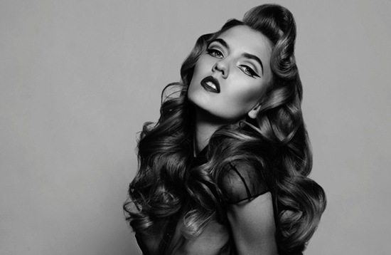 bombshell wedding hair big retro waves pinup bride 1