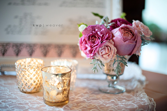 wedding photography detail shots romantic centerpiece pink with lace linen
