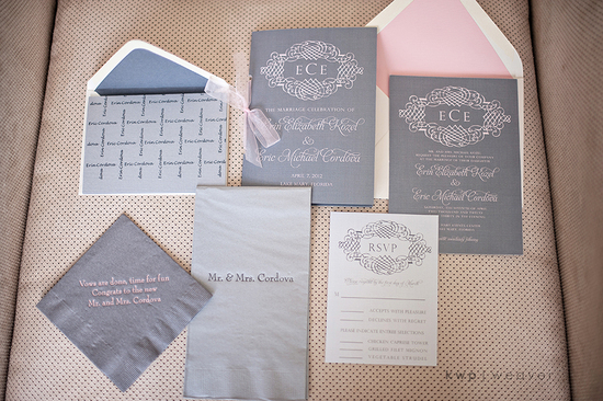 wedding photography detail shots gray pink stationery