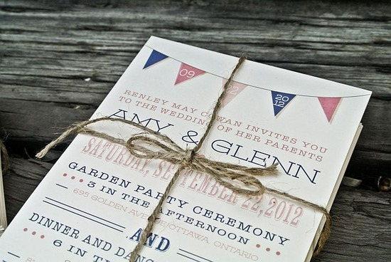 Rustic Modern Banner Wedding Invitation