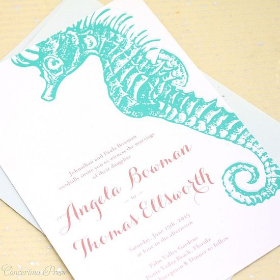 Seahorse and Starfish Wedding Invitations