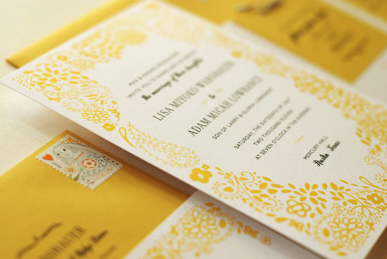 photo of yellow ivory wedding invitations country floral 1
