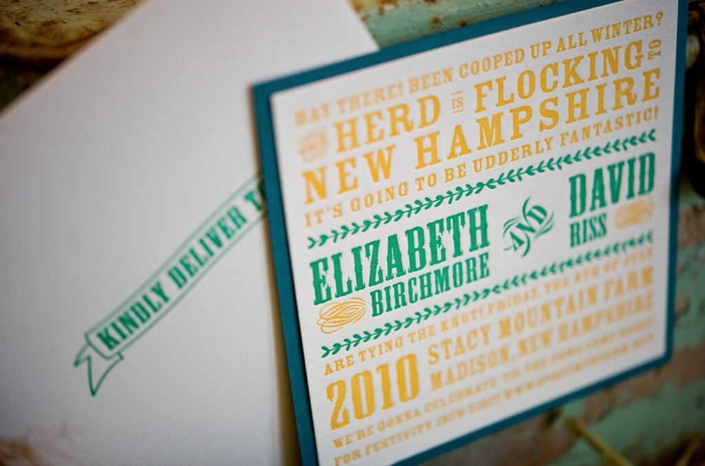 country wedding invitations teal yellow green 2