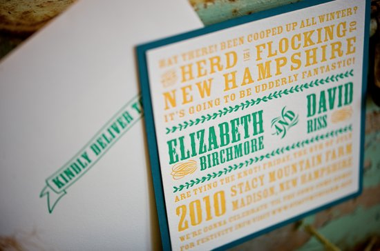 bright country wedding invitations teal yellow green 2