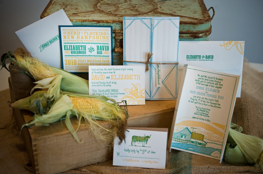 bright country wedding invitations teal yellow green 1