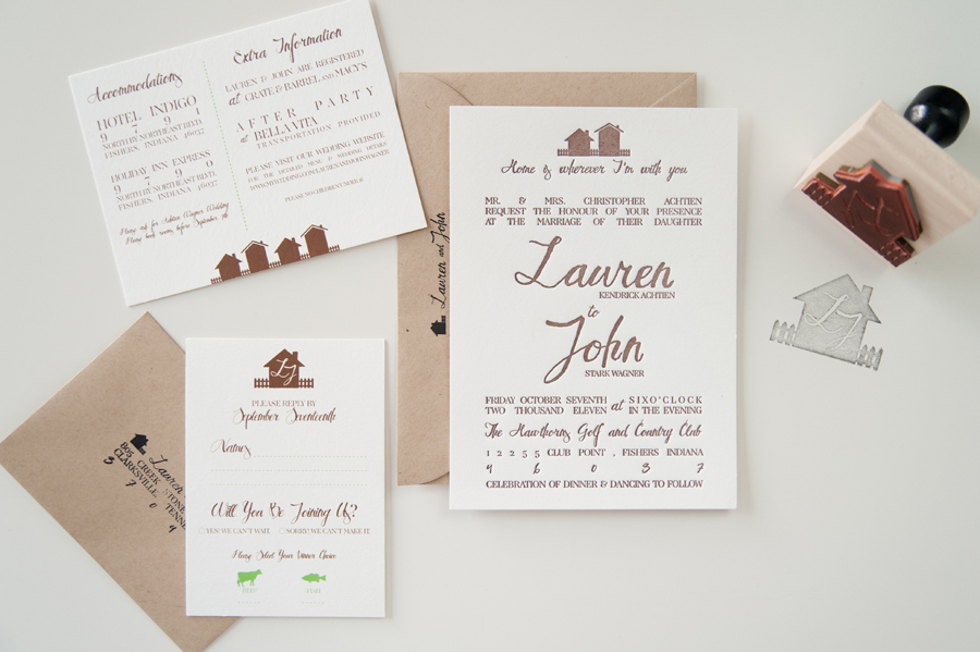 rustic country wedding invitations letterpress ivory taupe 1