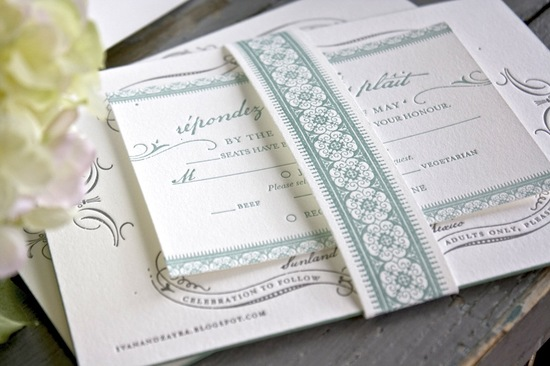 country chic wedding invitations for vintage brides white gray aqua 2