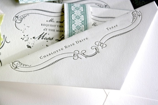 country chic wedding invitations for vintage brides white gray aqua 3
