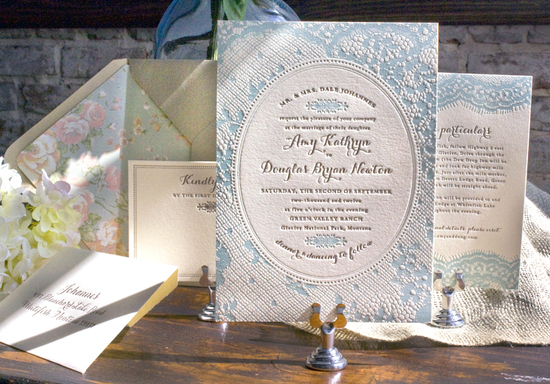 ice blue ivory wedding invitations letterpress 1