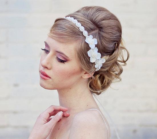 bridal updo classic with floral wedding headband
