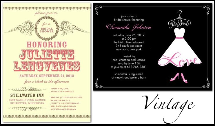 wedding invitations by style bridal shower stationery for vintage brides