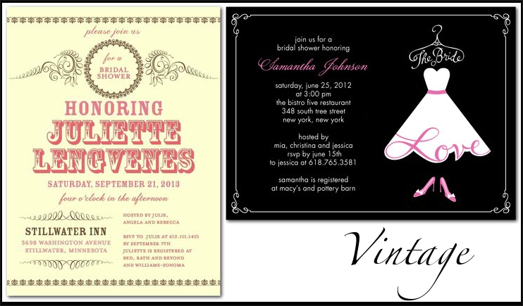 Wedding Invitations By Style Bridal Shower Stationery For Vintage