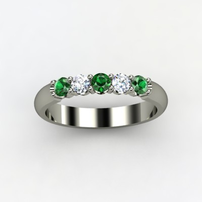 Quintessense Emerald Wedding Ring