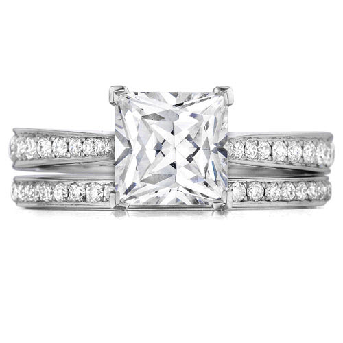 Henri Daussi Princess Cut Diamond Engagement Ring