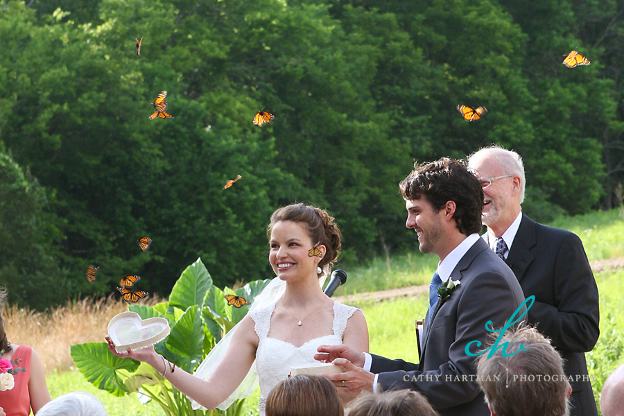 Memorable-wedding-ceremony-exit-with-butterfly-release.full