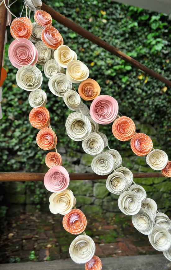 Handmade wedding garland  in peach, pink & ivory