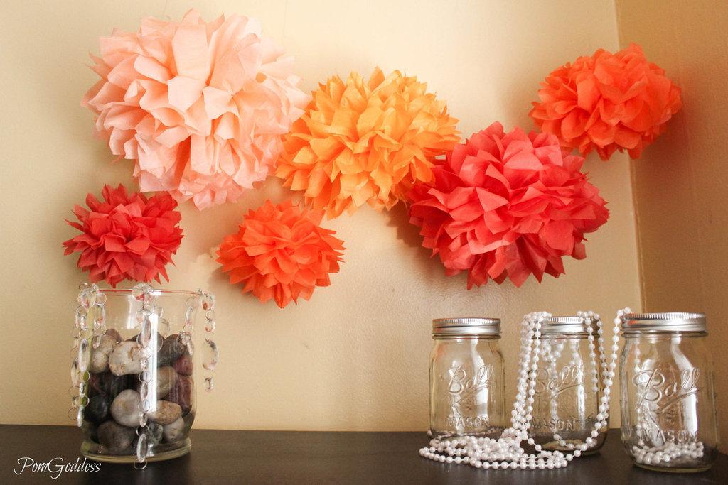 Tissue-poms-for-wedding-reception-decor-orange-pink-coral.full