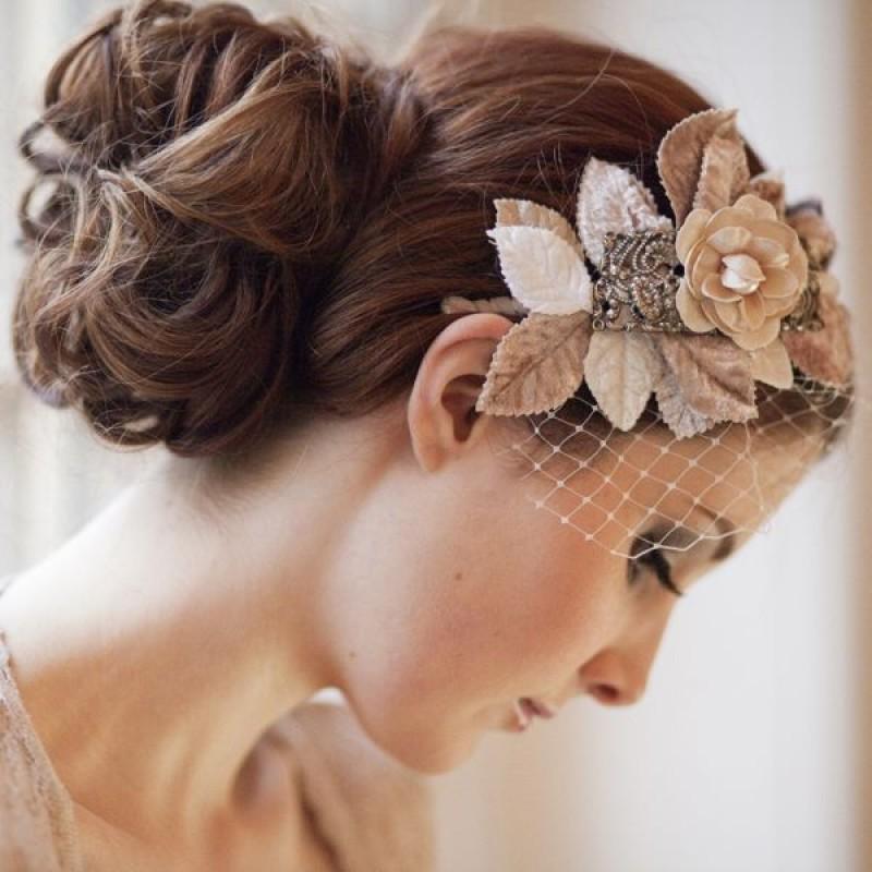Beige Flowers On Elegant Birdcage Bridal Veil