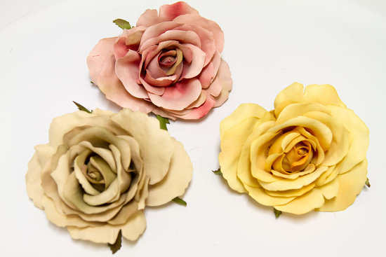 beige dusty rose yellow rose wedding hair accessories