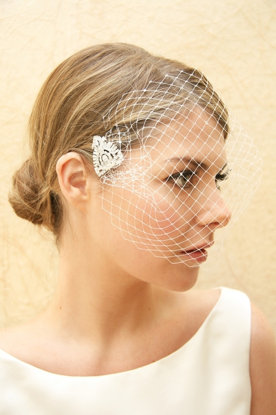 bridal veils hair accessories by Suzy Orourke bridal blusher with diamante detail
