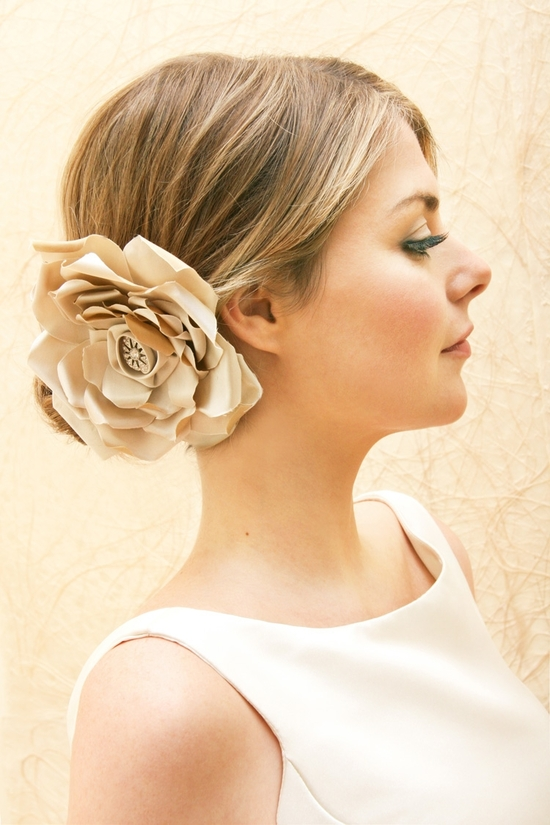 bridal veils hair accessories by Suzy Orourke beige hair flower